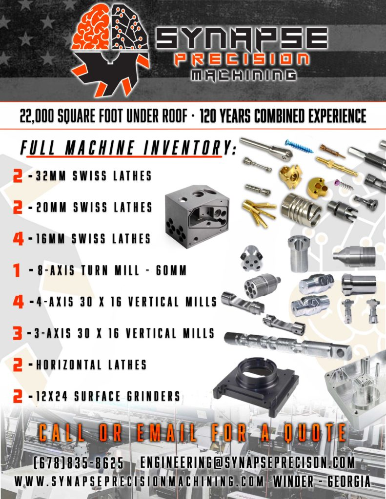 Synapse Precision Machining - machine shop line card